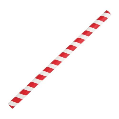 FB147 Fiesta Green Compostable Paper Smoothie Straws Red Stripes (Pack of 250)
